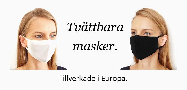 Tvättbara masker och munskydd.