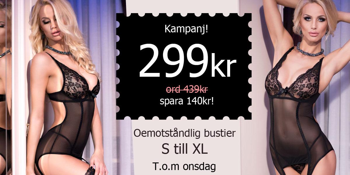 Oemoståndlig bustier S till XL, 299 kr. Ord. 439kr. Spara 140kr.
