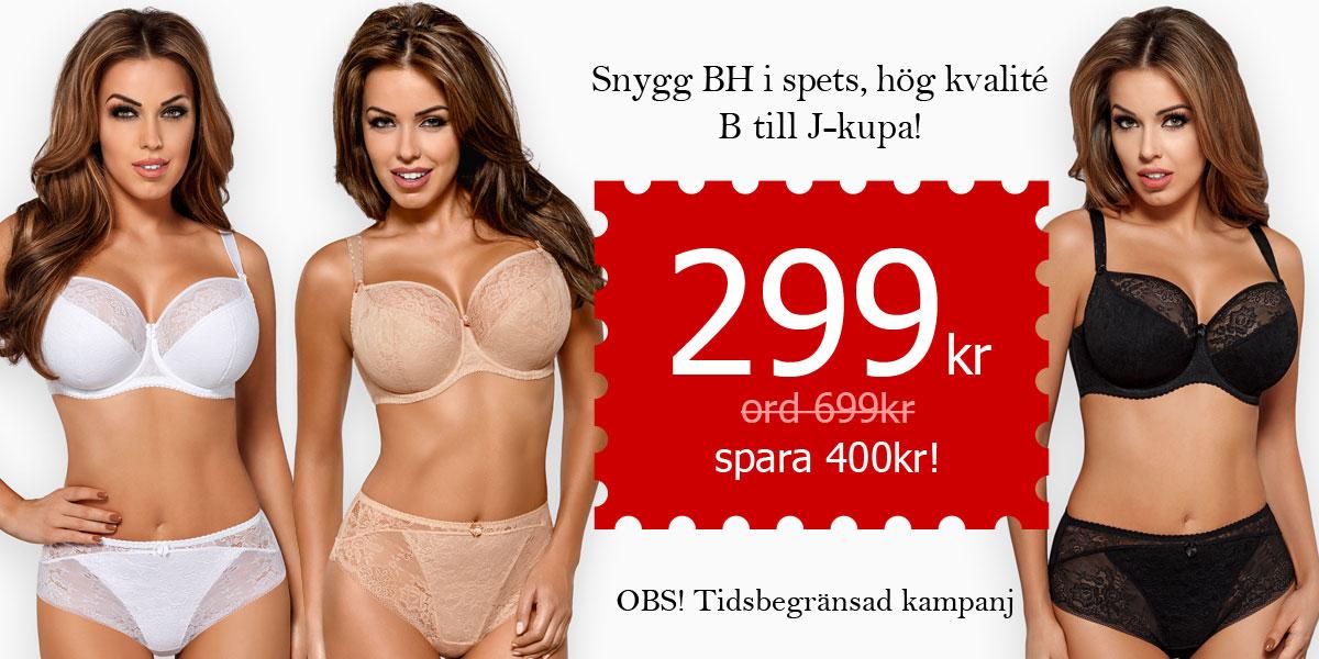 KAMPANJ! Snygg BH med spets. Hög kvalité! B till L-kupa, 299 kr (ord. 699kr) Spara 400kr!