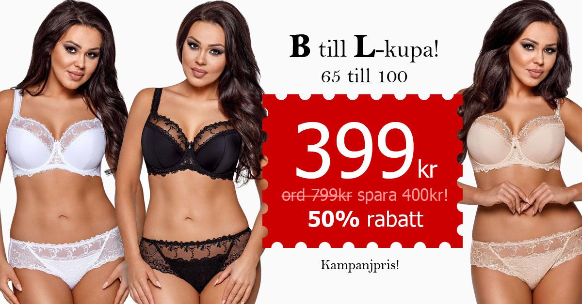 Snygg, bekväm BH med spets, B till L-kupa, 349 kr (ord. 799kr) Spara 450kr!