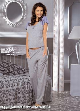 Pyjamas med korta volangärmar
