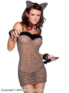 Leopardmönstrad klänning med svans