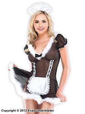 Skir french maid-klänning med pälskanter