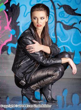 Lack-leggings med silverfärgade detaljer