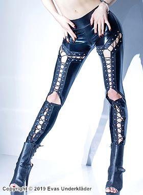 Sexiga lamé-leggings med snörning
