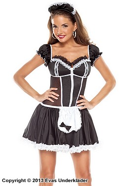 French Maid kostym med rosetter