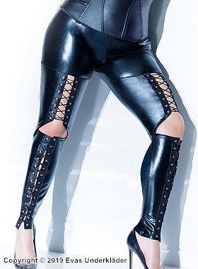 Sexiga lamé-leggings med snörning, plus size