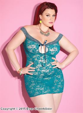 Minidress i spets, plus size