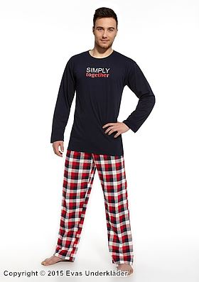 Svart- och rödrutig pyjamas med tryck