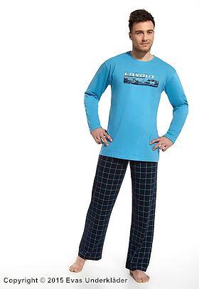 Blå pyjamas med grafiskt tryck