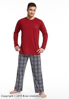 Pyjamas med emblem och rutiga byxor