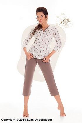 Pyjamas med blommig topp