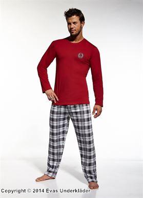 Rutig pyjamas i rött och grått