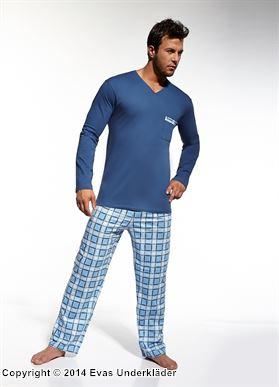 Rutig pyjamas med v-ringning