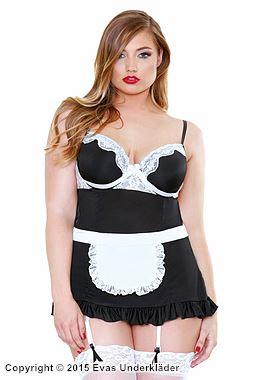 French maid-förkläde med öppen rygg, plus size