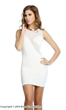 Minidress med transparent rygg, vit