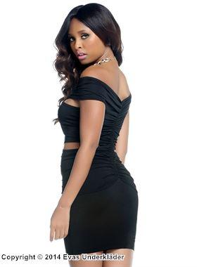 Rynkad klänning med öppningar i sidorna, svart