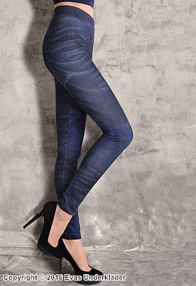 Jeans-leggings med tvättat mönster