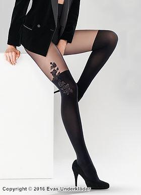 Stockings-mönstrad strumpbyxa rosor