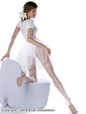 Romantisk strumpbyxa med stockingsmönster