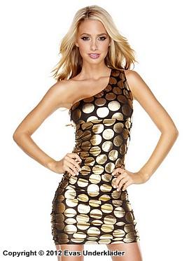 Asymmetrisk klänning med guldcirklar