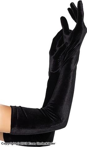Långa handskar i sammet