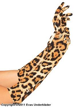 Långa handskar med leopardmönster