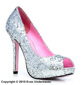 Högklackade skor / pumps med glitter och öppen tå