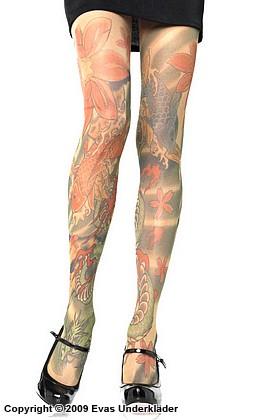 Tatueringsmönstrade strumpbyxor