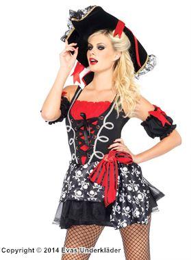 Piratklänning med dödskallar