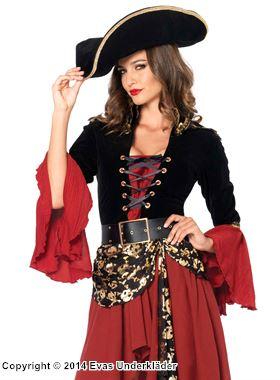 Piratkapten, maskeradkostym i 2 delar