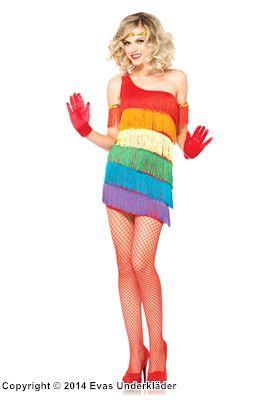 Regnbågsfärgad flapperklänning