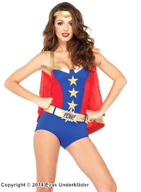 Superhjälte med cape, maskeraddräkt