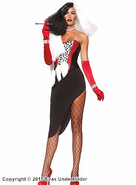 Cruella de Vil, maskeraddräkt i 5 delar