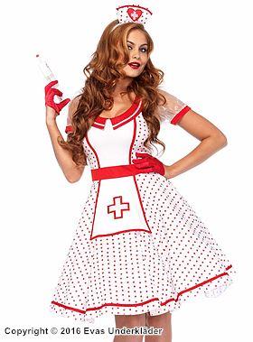 50-tals sjuksköterska, maskeraddräkt