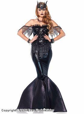 Elegant och mystisk sjöjungfru, maskeradkostym