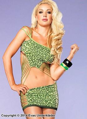 Minidress med leopardmönster och smala dekorativa band