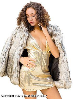 Djupt urringad festklänning med gyllene paljetter