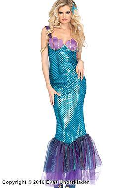 Sjöjungfru-klänning med vackra paljett-detaljer, maskeraddräkt