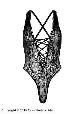 Stringteddy i blomstermönstrad spets