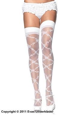 Sexiga, blommönstrade stockings i tre färger