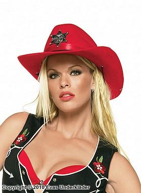 Sexig röd cowgirl-hatt