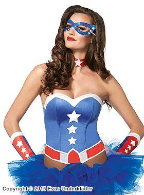 Amerikansk superhjälte, maskeradkorsett med tillbehör