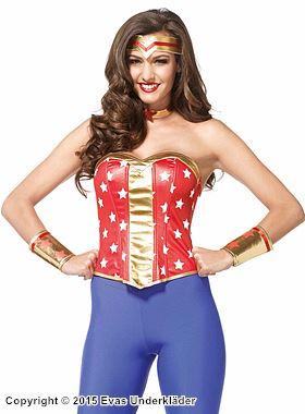 Wonder Women-korsett, maskeraddräkt i 4 delar