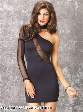 Asymmetrisk klänning med nätdetaljer