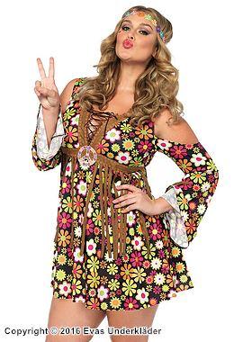 Hippie-klänning med långa fransar, maskeraddräkt, plus size