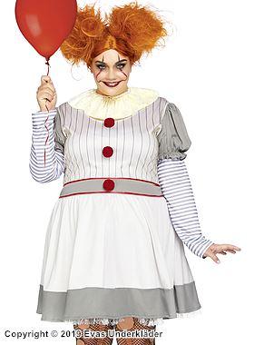 Clown-klänning, maskeraddräkt, plus size