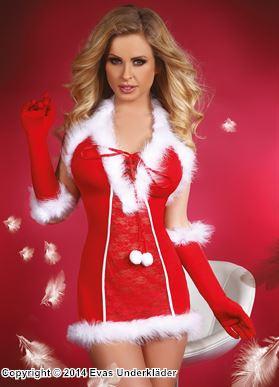 Julklänning med pälsdekorationer