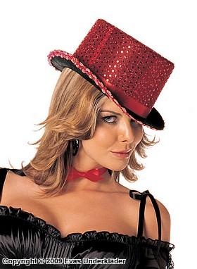 Sexig röd hatt med paljetter
