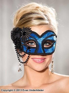Elegant mask med pärlor och blommor